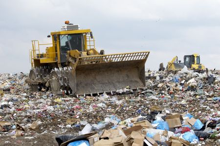 overview of refuse collection with bulldozer Stock Photo - 4694980