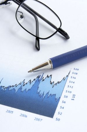 close up of stock market chart, glasses, calculator and pen  photo