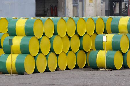 close up of industrial tanks of oil industry production photo