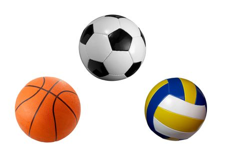 sport balls: closeup of soccer, baskey and volley ball on white background. each one is a separate picture in full cameras resolution