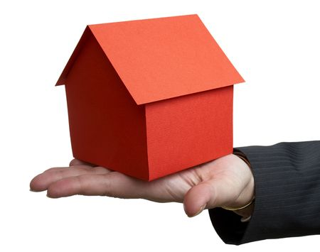 close up of businesswoman and miniature house on white background