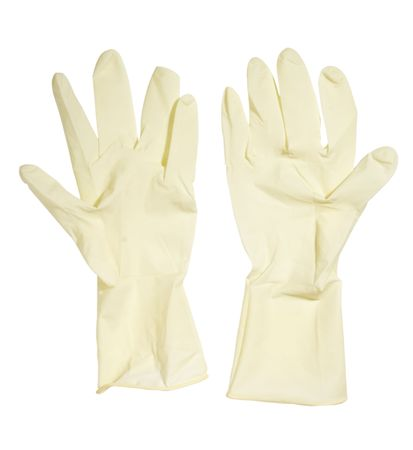 close up of rubber gloves on white background  photo