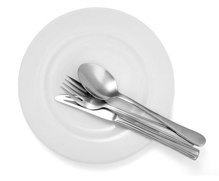 close up of spoon,fork, knife and plate on white background Stock Photo - 4728080