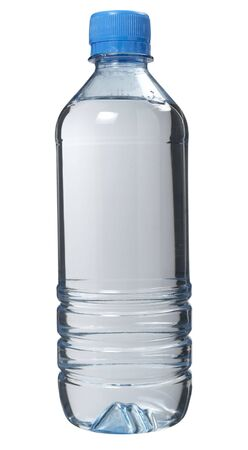 lined up: close up of plastic bottle on white background with path Stock Photo