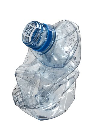 close up of plastic bottle on white background with path photo