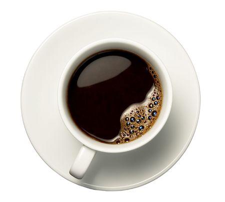 filiżanka kawy: ścieśniać filiżanka kawy na białym tle z wycinek ścieżki