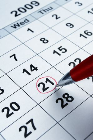 circle calendar date: close up of calendar