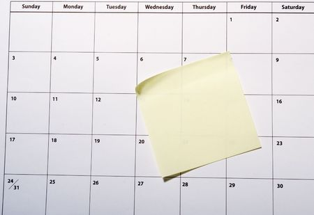 planner: close up of a calendar