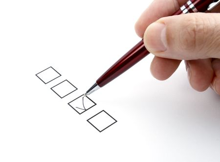 checklist: close up of questionnaire test Stock Photo
