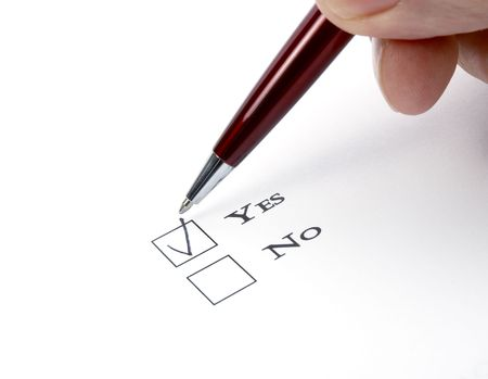 filling folder: close up of questionnaire test Stock Photo