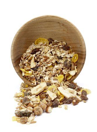 close up of ready to use musli on white background  photo