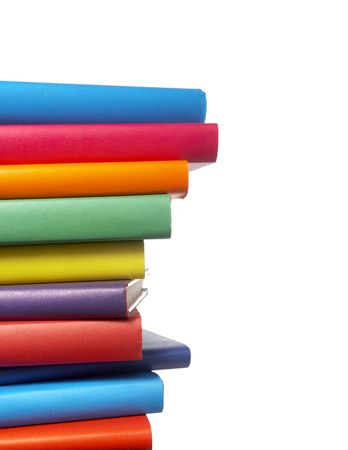 close up of stack of colorful books on white background Stock Photo - 4872240