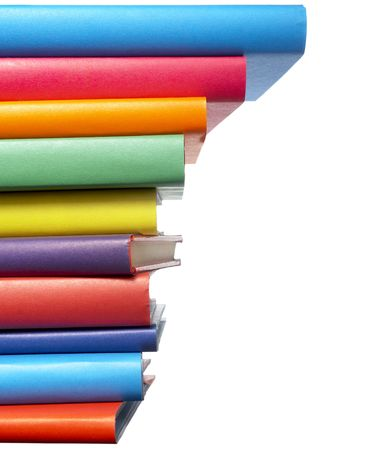 close up of stack of colorful books on white background Stock Photo - 4872238