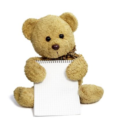 close up of teddy bear holding blank notebook