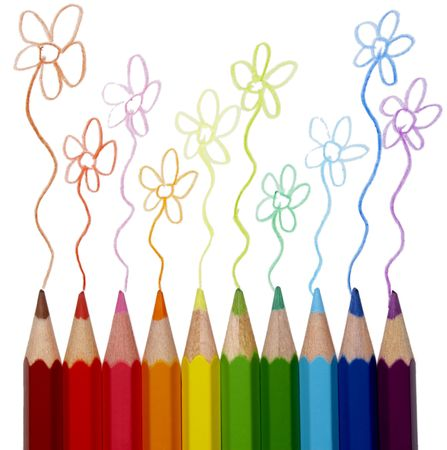 close up of color pencils art supplies with path on white background with path photo