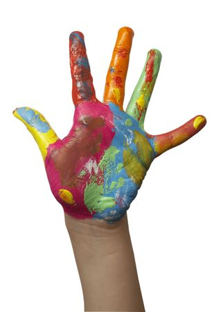reach: close up of child  hands painted with watercolors, on white background Stock Photo
