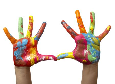close up of child hands painted with watercolors, on white background with clipping photo