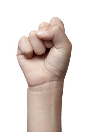 close up of hand gesturing, on white background with clipping photo