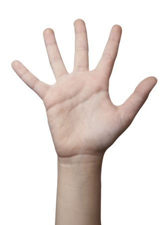 out of use: close up of hand gesturing, on white background with clipping