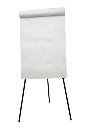 scratchpad: close up of an empty flip chart on white background Stock Photo