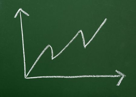 close up of blackboard and business graph Stock Photo - 4983433