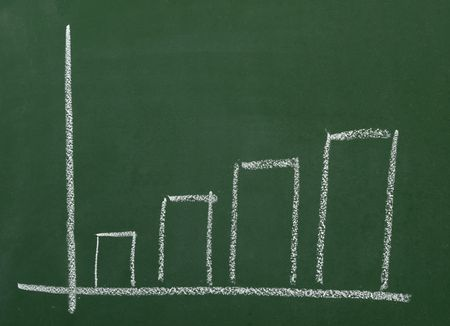 close up of blackboard and business graph Stock Photo - 4983568