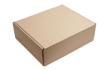 close up of carton box on white background with clipping photo