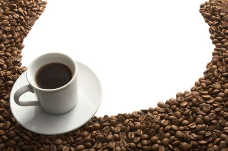 close up of coffee beans and coffee cup on white background  Stock Photo - 4983563