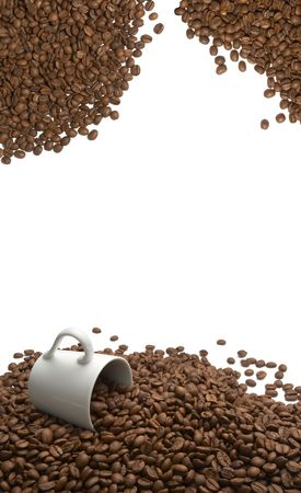 close up of coffee beans and coffee cup on white background Stock Photo - 4983614