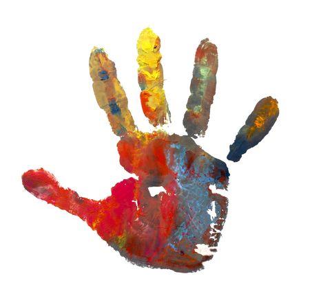 白い背景の上の水彩画マークと塗られる子供手のクローズ アップ