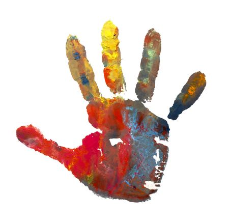 close up of child  hands painted with watercolors mark on white background  photo