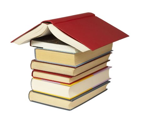 handbooks: close up of stack of books on white background, with path included Stock Photo