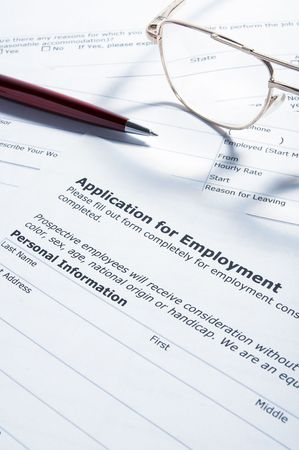 questionary: close up of application for employment document Stock Photo