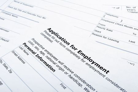 close up of application for employment document photo