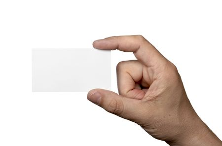 close up of hand holding blank note paper, on white background with clipping photo