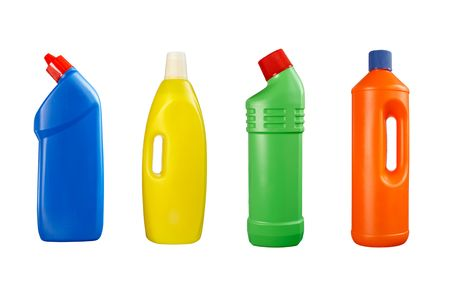 collection of hygiene cleaners for housework on white background. each one is in full cameras resolution photo
