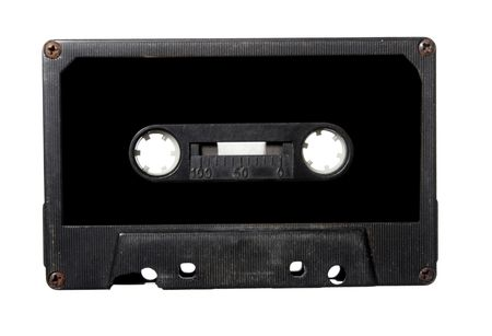 medium closeup: close up of audio tape cassette on white background with clipping