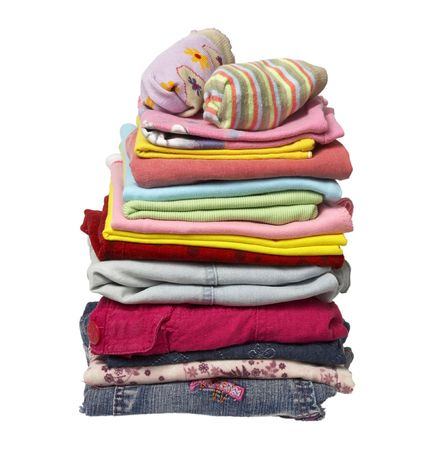 close up of stack of shirts and other clothes on white background with clipping Stock Photo - 4983608
