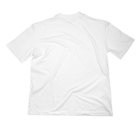 hang up: close up of on a t shirt on white background with clipping