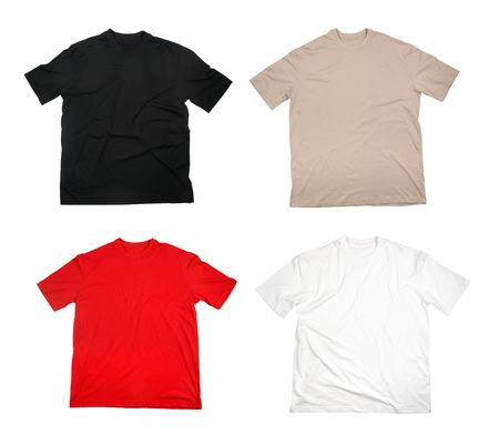 tshirts: collection of  t shirts on white background. each one is in full cameras resolution.