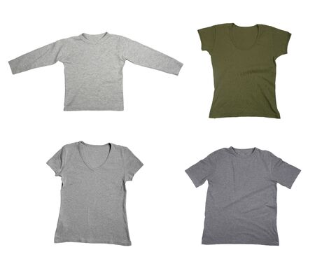 collection of  t shirts on white background. each one is in full cameras resolution.