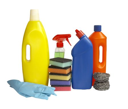 close up of hygiene cleaners for housework on white background photo