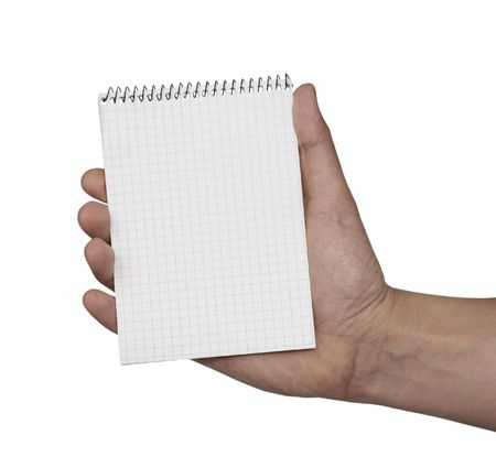 hand holding paper: close up of hand holding blank notebook, on white background