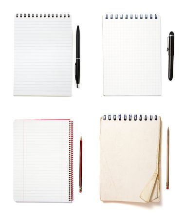 collection of notebooks and pencisl on white background. each one is in full camera resolution photo
