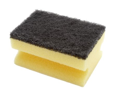 close up of sponge for housework on white background  photo