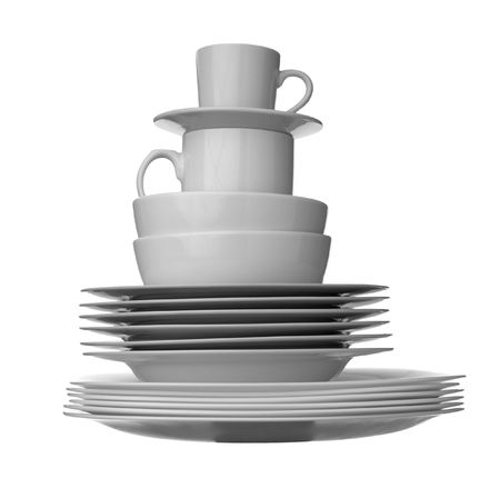 close up of stack of white ceramic dishes on white background Stock Photo - 5080902
