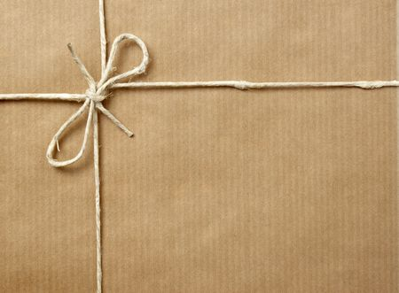 wrapped up: close up of carton  box post package