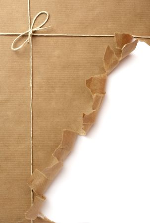 close up of  package ripped on white background Stock Photo - 5223397