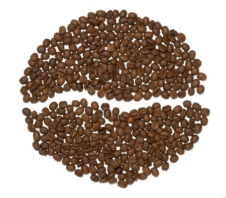 close up of coffee beans on white background Stock Photo - 5223394