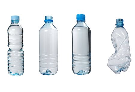 close up of plastic bottle on white background. each one is in the full camera resolution photo
